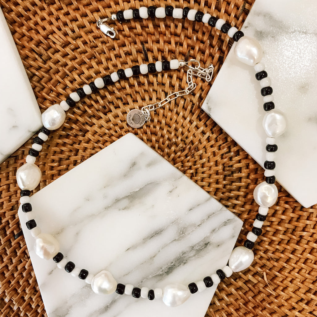 Freshwater Pearl Checkered Necklace