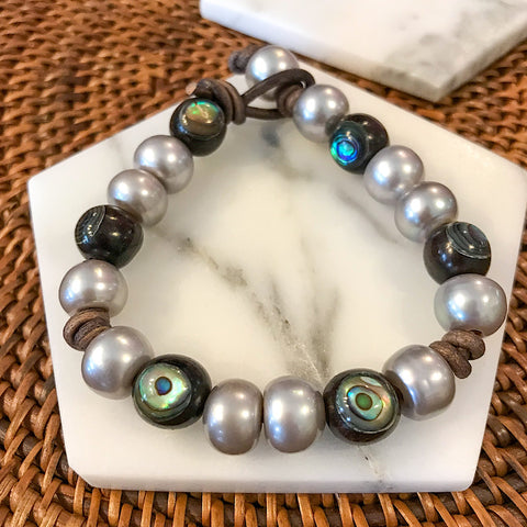 Abalone and Grey Pearl Bracelet