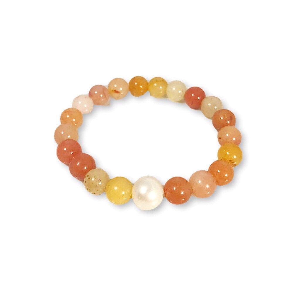 Freshwater Pearl + Citrus Agate Stretch Bracelet