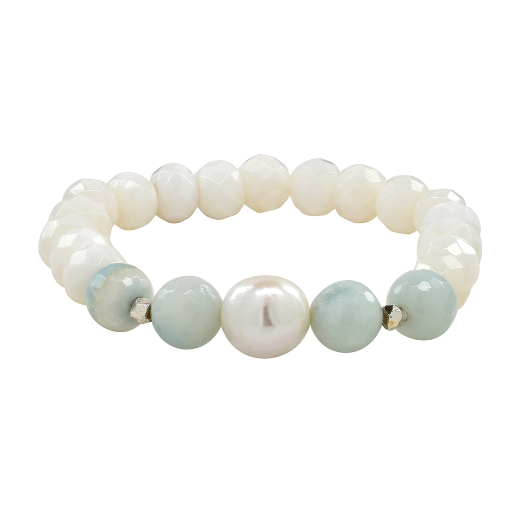Amazonite and Shell Stretch Bracelet
