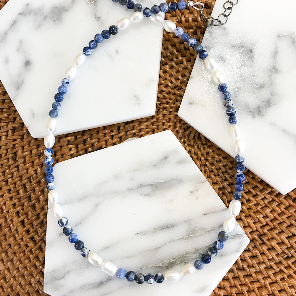 Sodalite + Pearl Necklace