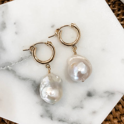 Classic Freshwater Pearl Hoops