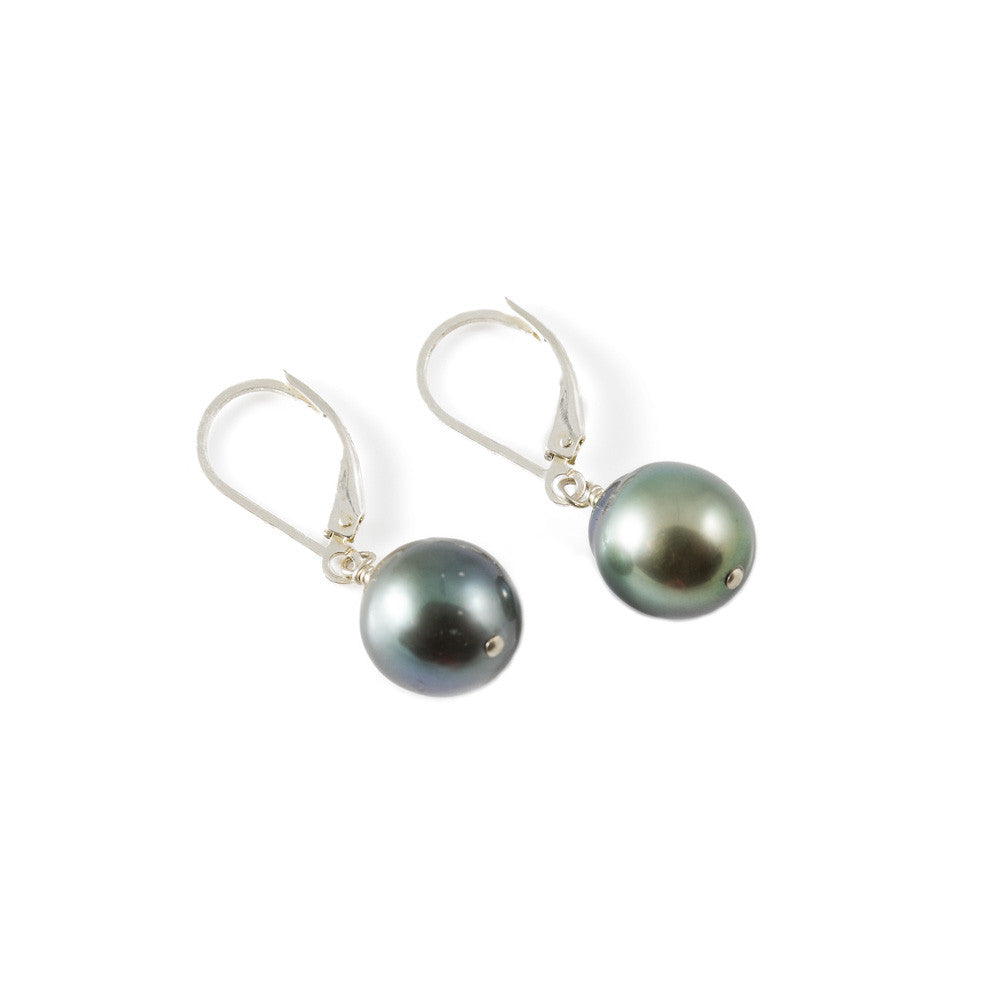 Classic Tahitian Pearl Leverback Drop Earring -- Sea Lustre Jewelry - 1