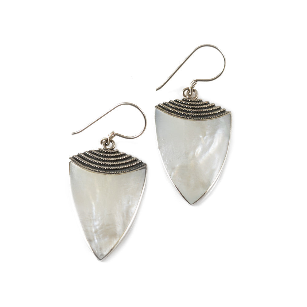 Mother of Pearl Sheild Drop Earrings -- Sea Lustre Jewelry
