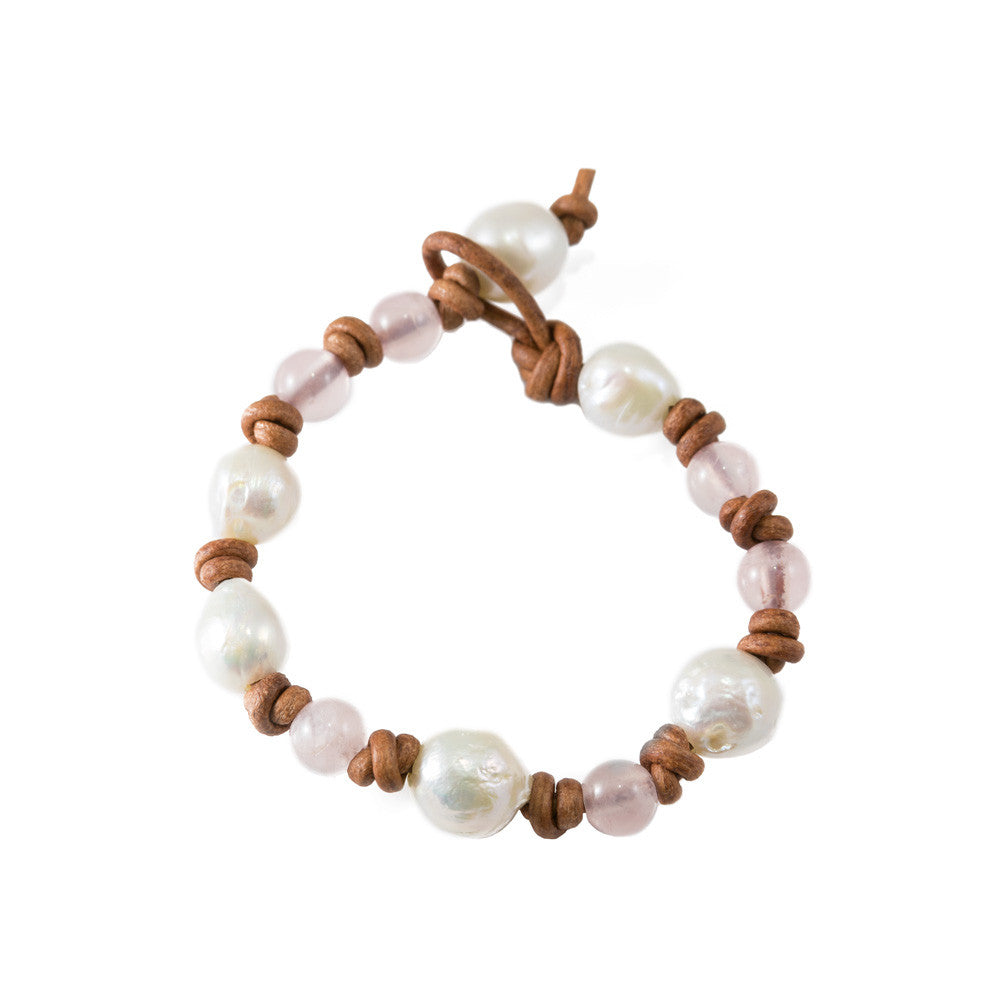 Rose Quartz & Baroque Pearl Bracelet -- Sea Lustre Jewelry - 1