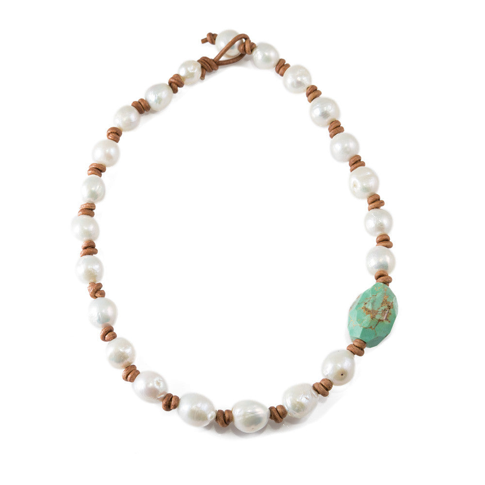 Turquoise & Baroque Pearl Necklace -- Sea Lustre Jewelry