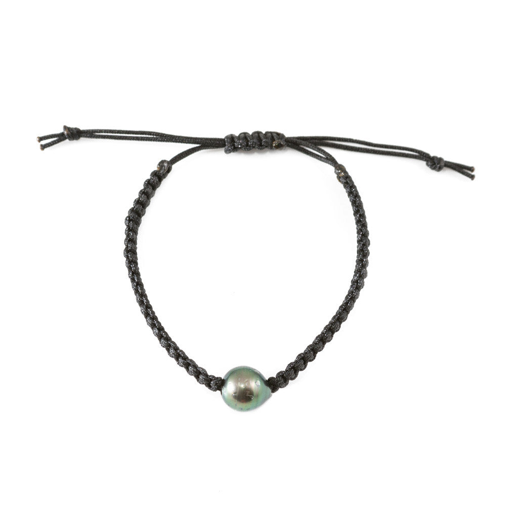 Tahitian Pearl Single Macrame Bracelet in Black -- Sea Lustre Jewelry - 1