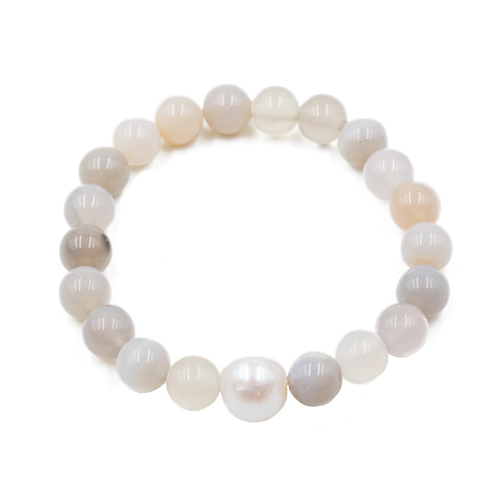 Freshwater Pearl + Translucent Agate Stretch Bracelet -- Sea Lustre Jewelry