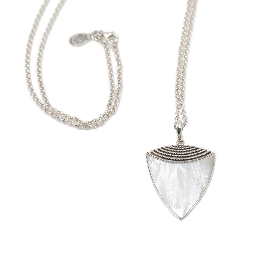 Mother of Pearl Sheild Necklace -- Sea Lustre Jewelry