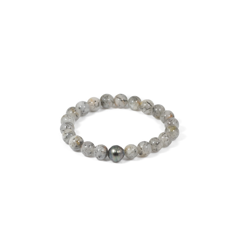 Tahitian Pearl + Rutilated Quartz Stretch Bracelet -- Sea Lustre Jewelry