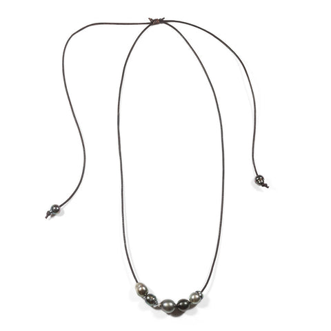 Five Tahitian Pearl Slide Necklace- Adjustable