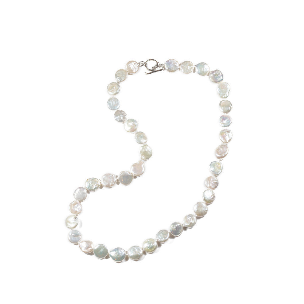 "Sterling Silver 22"" Coin Pearl Strand Necklace -- Sea Lustre Jewelry"