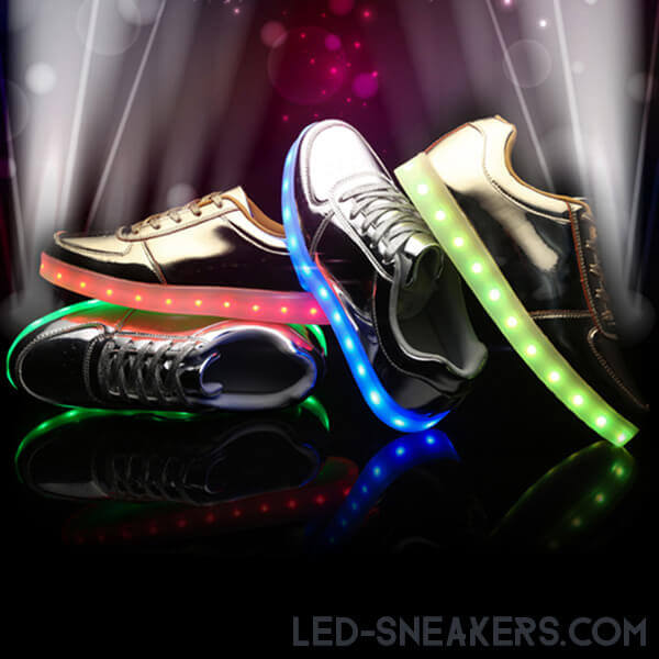 led sneakers led shoes light shoes chaussures led led schuhe gold silver low