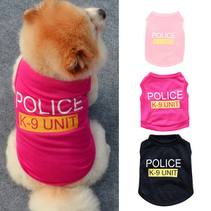 Small Dog Vest Puppy Police Letters T-Shirt Summer Pet Clothes Apparel Costumes