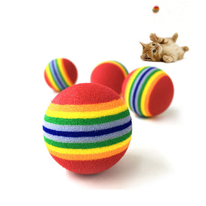 Rainbow Striped Ball Pet Chewing Biting Chasing Puppy Dog Cat Play Fetch Toy