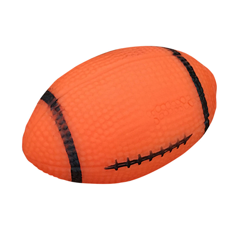 Pet Puppy Chew Bite Rugby Ball Squeaker Squeaky Training Sound Toy Dog Gift