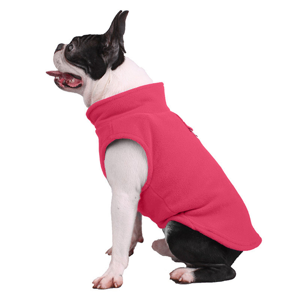 Pet Puppy Dog Vest Solid Color Winter Warm Clothes Soft Coat Apparel Pullover