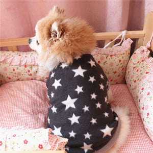 Winter Soft Pet Dog Fleece Pullover Star Pattern Fashion Puppy Short Sleeve Top