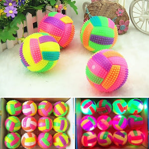 Flashing Football Shape LED Light Sound Bouncy Ball Funny Kids Pet Dog Toy