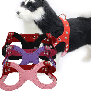 Adjustable Small Pet Dog Chest Strap Vest Faux Leather Harness Accessory