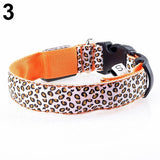 Pets Dog Collar Necklace Night Safety Light Leopard Pattern LED Neck Strap