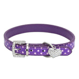 Fully Rhinestone Heart Pendant Dots Faux Leather Adjustable Dog Cat Pet Collar