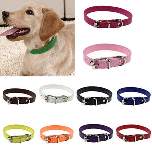 Faux Leather Pure Color Cute Dog Pet Cat Puppy Collar Neck Adjustable Buckle