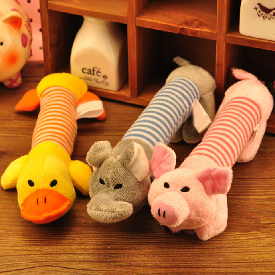 Elephant Pig Duck Squeaky Squeaker Plush Chew Play Souud Toy for Pet Puppy Dog