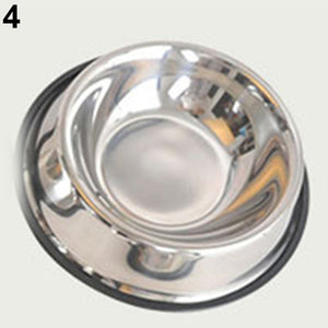 Pets Dog Cat Stainless Steel Non Slip Feeding Food Water Dish Feeder Bowl