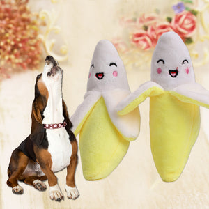 Lovely Fruit Plush Banana Pet Dog Cat Chewing Bite Training Play Sound Toy