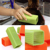 Hollowed Rectangle Silicone Brush Dog Cat Hair Remover Fur Cleaning Pet Tool