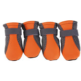 4Pcs Pet Dog Shoes Non-slip Soft Sole Breathable Mesh Adjustable Straps Boots