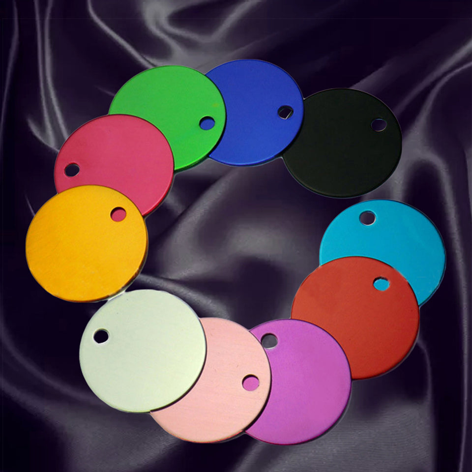 10Pcs Fashion Solid Color Round Pet Cat Dog Necklace Name ID Tag Collar Pendant