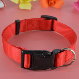 Adjustable Dog Puppy Cat Pet Safety Nylon Necklace Fashion Buckle Neck Collar