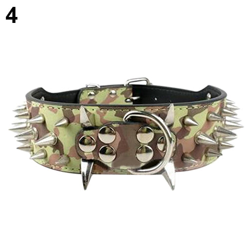 Wide Sharp Spiked Studded Faux Leather Dog Collar for Medium Large Pet Pitbull