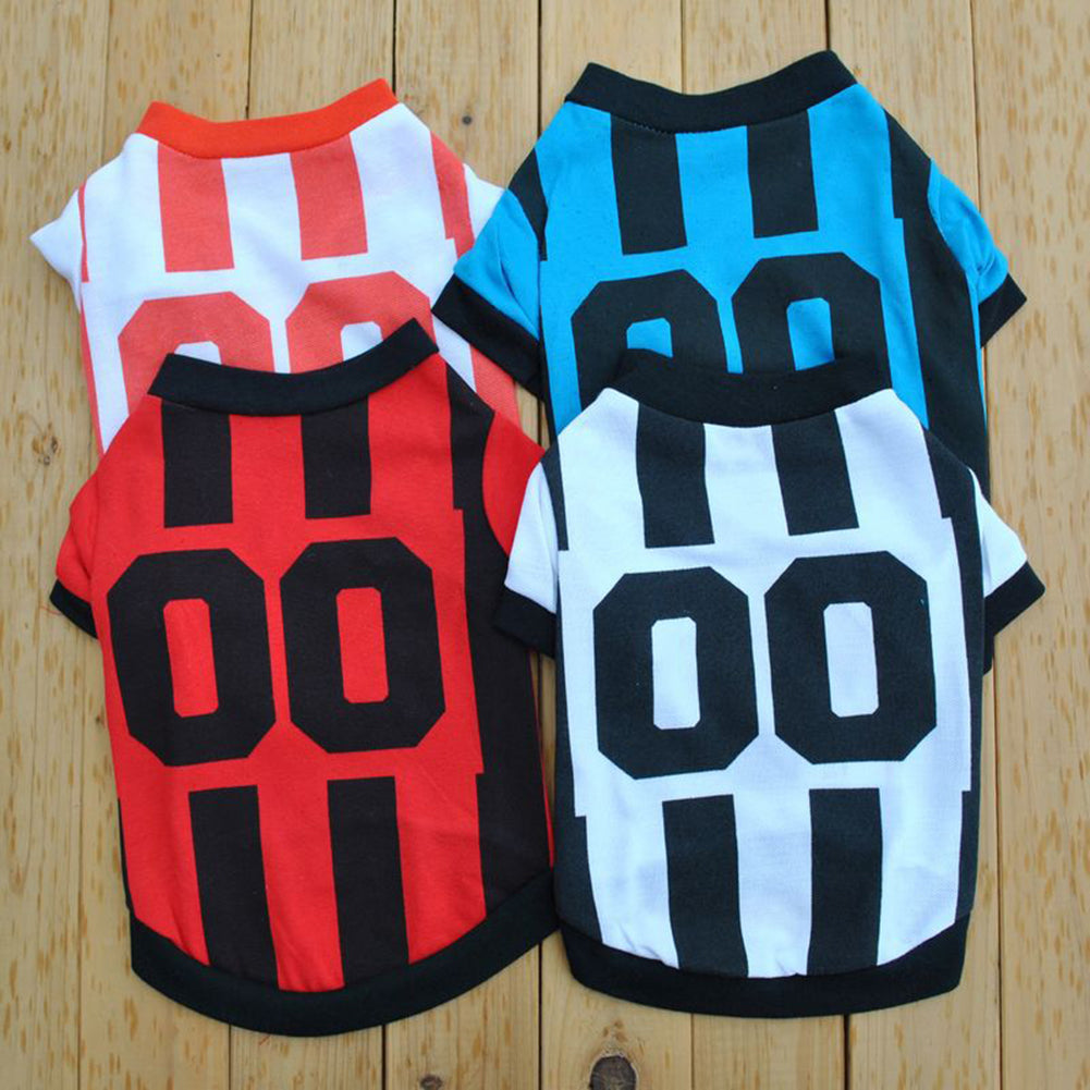Fashion Pet Puppy Clothes Sports Style Polo Shirt Striped T-shirt Dog Apparel