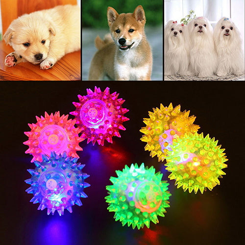 Dog Puppy Cat Pet LED Squeaky Rubber Chewing Bell Ball Hedgehog Fun Toys