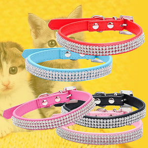 3 Row Bling Rhinestone Small Pet Dog Faux Leather Buckle Cute Cat Puppy Collar
