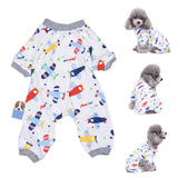 Dog Puppy Cat Airplane Plane Print Soft Jumpsuit Pajamas Warm Coat Pet Clothes