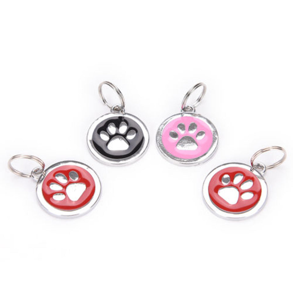 Round Puppy Pet Anti-Lost ID Name Paw Print Bone Pattern Dog Collar Tag Pendant