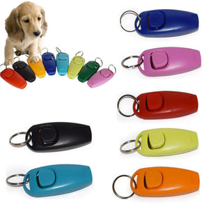 2 in 1 Mini Plastic Pet Dog Cat Clicker Whistle Trainer Aid Tools with Keyring