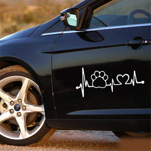 Heartbeat Dog Paw Creative Motorcycle Car Window Body Decoration Sticker Decal