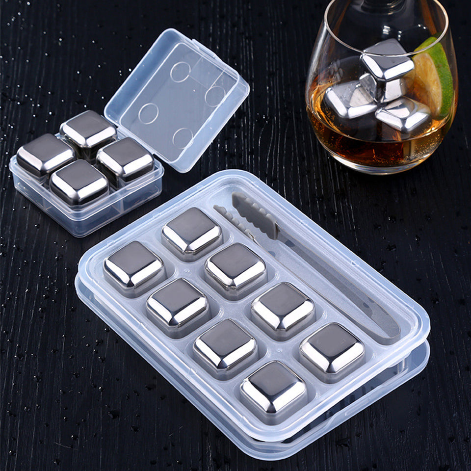 4/8Pcs Stainless Steel Ice Cubes Reusable Whiskey Wine Drink Chilling Stones