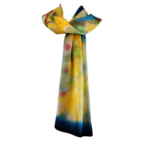 SilkArt: Daffodils in March - hand-painted silk scarf with an aquamarine blue border - one-of-a-kind boho-chic abstract wearable art (14x72)