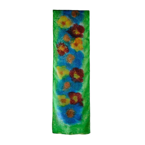 SilkArt: Poppies in August - hand-painted silk scarf with a peridot green border - one-of-a-kind boho-chic abstract wearable art (8x54) front
