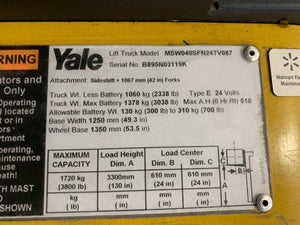 2012 YALE MSW040 4,000 lb. Electric Pallet Jacks & Stackers SN 4006 data tag