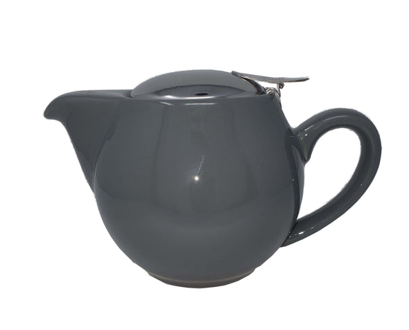 Aran Grey 500ml (1-2 cup) Ceramic Teapot Stainless Steel Lid Teapot with removable Stainless Steel Mesh Infuser for use with loose tea. Available in a range of colours