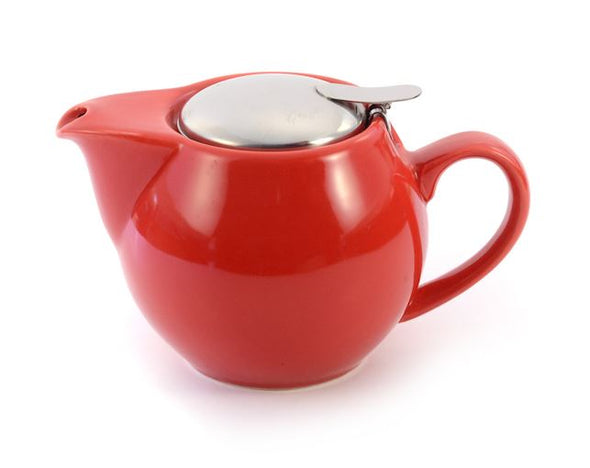 Aran Red 500ml (1-2 cup) Ceramic Teapot Stainless Steel Lid Teapot with removable Stainless Steel Mesh Infuser for use with loose tea. Available in a range of colours