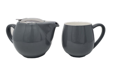McEntee's Tea Aran Grey Ceramic 500ml Teapot with steel Filter & lid and Grey Mug set