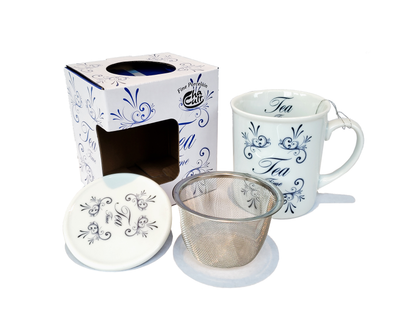 "McEntee's Tea ""Time for Tea"" Themed Mug With Removable Steel Filter Insert And Lid – Tea For One"